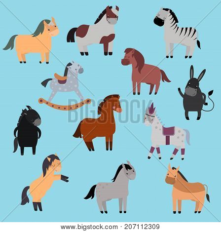 Set of horse pony stallion isolated on white background. Different breeds color farm equestrian set vector. Collection mammal silhouette domestic animal.