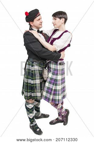 The Pair Woman And Man In Traditioanl Scottish Costume