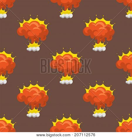 Cartoon explosion boom effect animation game sprite sheet explode burst blast fire comic flame vector illustration. Military destruction design aggression seamless pattern.