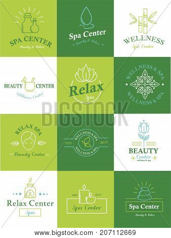 Vector health and beauty care logos or labels. Spa, yoga centers badges. Beauty healthcare spa badge logo set, nature skin and body care vector symbols