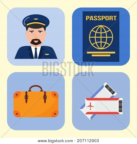 Aviation icons vector set airline graphic symbols airport pilot fly travel symbol illustration. Air transport boarding cargo departure.