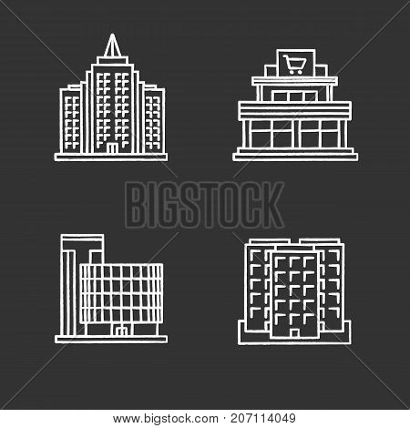 City buildings chalk icons set. Shopping mall, business center, skyscraper, multi-storey building. Isolated vector chalkboard illustrations