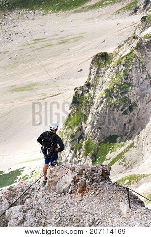People Climbing On Via Ferrata To Dachstein Glacier, Austrian Alps