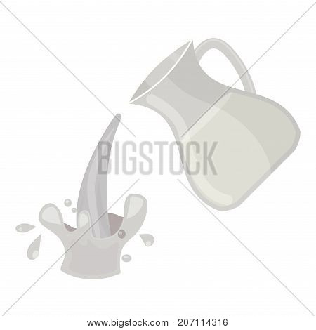 Jar of milk traditional nature nutritious pasteurized cream milky white drink beverage dairy fresh healthy product vector illustration. Jug freshness protein ingredient breakfast container.