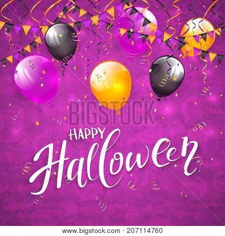 Text Happy Halloween on an purple background with holiday images, colorful balloons, pennants, streamers and confetti, illustration.