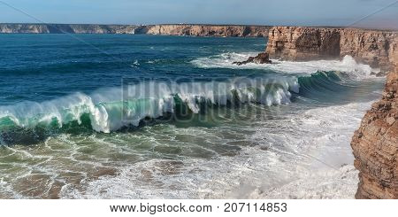 Panorama of giant waves in Sagres. Costa Vicentina Portugal