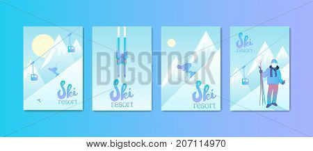 Ski Resort Poster Set. Man skiing down the mountain slope. Sports equipment and ski lift.