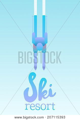 Vector poster of Ski resort. Illustration depicting a skier. A man is skiing down the mountain slope.