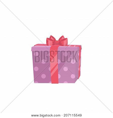 Cartoon trendy design icon of pink polka paper gift box with red ribbon. Christmas birthday and party symbol. Vector simple gradient surprise illustration.