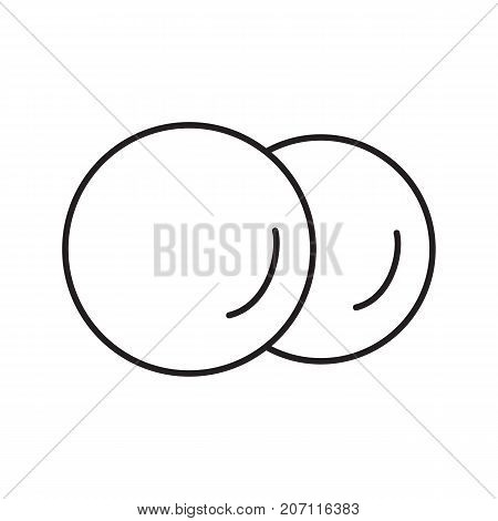 Cotton pads linear icon. Thin line illustration. Cotton discs. Contour symbol. Vector isolated outline drawing