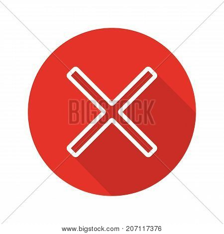 Cross flat linear long shadow icon. Delete digital sign. Vector outline symbol