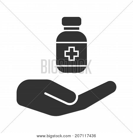 Open hand with drugs glyph icon. Silhouette symbol. Medicaments supply. Negative space. Vector isolated illustration