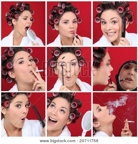Expressive woman with hair curlers on red background