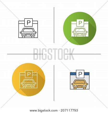 Parking place icon. Flat design, linear and color styles. Auto shed. Car garage with P sign. Isolated vector illustrations