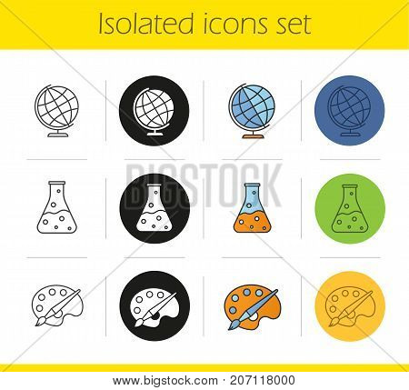 Education icons set. Linear, black and color styles. Geography, chemistry, art symbols. Chemical reaction, palette with brush, globe. Isolated vector illustrations