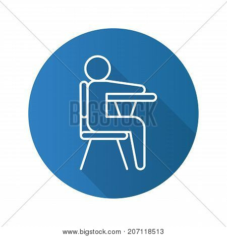 Pupil flat linear long shadow icon. School student sitting at desk. Vector outline symbol