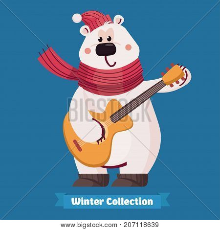Happy cute polar bear and guitar in flat vector style. Christmas and New Year card