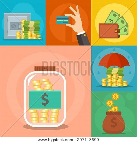 Money icons set vector commercial group. Payment investment bag graphic safepay earning wallet. Cash pictogram card currency exchange dollar sign.