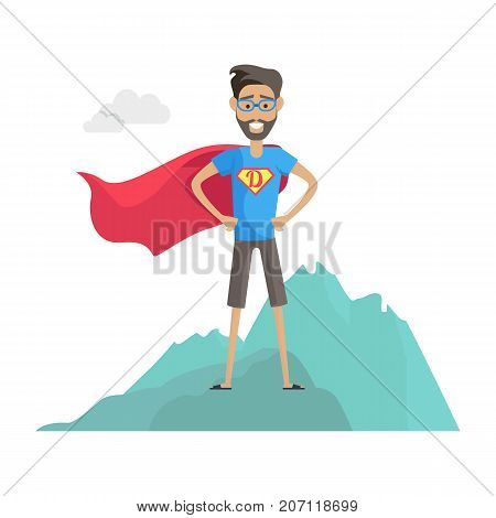 Super hero daddy in superhero costume. Smiling man in superhero costume with beard and glasses standing on a mountain. Happy super man. Cartoon superhero. Superhero icon. Vector illustration.