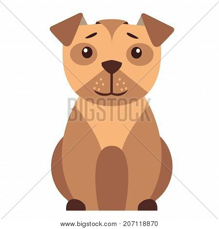 Funny cartoon small dog sitting with smiling muzzle flat vector isolated on white background. Lovely purebred pet illustration for animal friends and companions concepts, shop ad