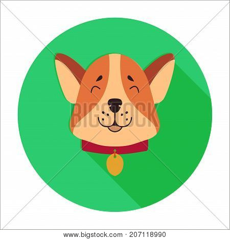 Funny cute puppy head with token on collar flat vector isolated on white background. Lovely purebred cartoon dog illustration for animal friend concept, shop or veterinary clinic ad
