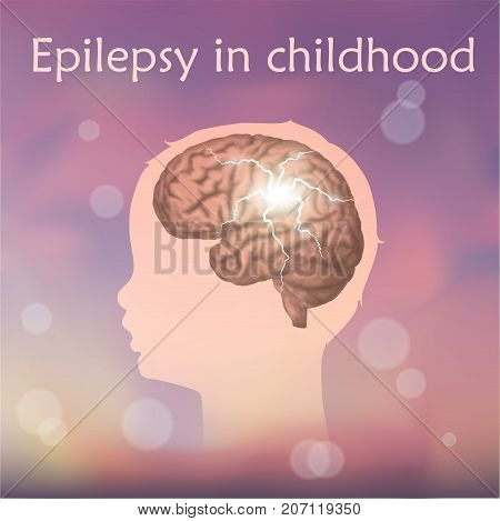 Epilepsy in infants, childhood. Vector medical illustration. Kid, baby, childhood. Blurred pink background, silhouette of child head, anatomy image of brain, electrical discharge.