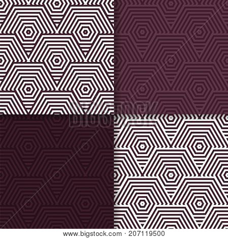 Geometric seamless patterns. Set of maroon backgrounds for wallpapers and fabrics. Vector illustration