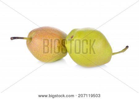 fresh red fragrant pear on white background