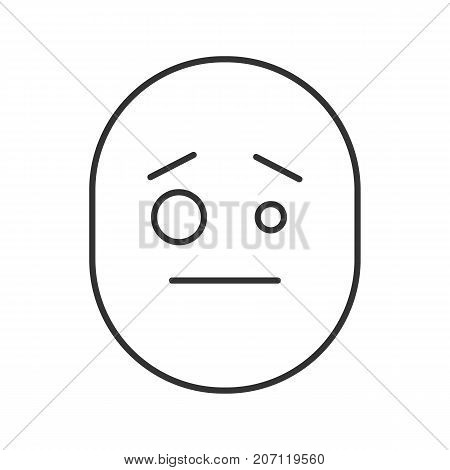 Confused smiley linear icon. Thin line illustration. Sceptical face. Contour symbol. Vector isolated outline drawing