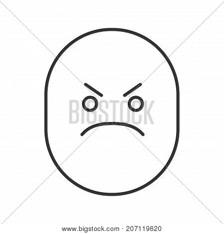 Angry smile linear icon. Frowned face. Thin line illustration. Bad mood contour symbol. Vector isolated outline drawing