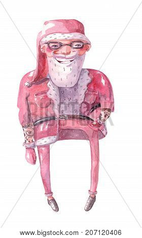 Large raster illustration with hand drawn lovely hipster Santa Claus drawn with brush and watercolor