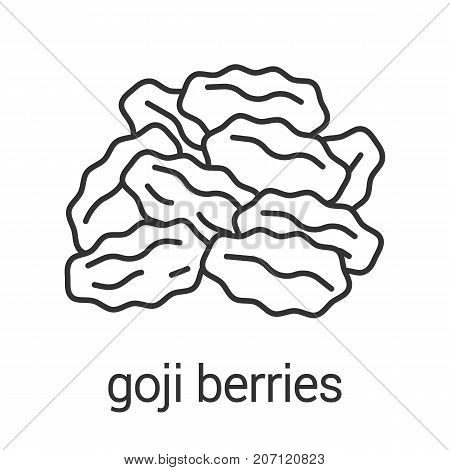 Dried goji berries linear icon. Raisins. Thin line illustration. Flavoring, seasoning. Contour symbol. Vector isolated outline drawing