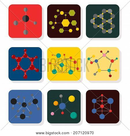 Set of colorful molecular structures in the form of sphere. Chemical structure microscopic technology, web design, geometric molecule. Organic element evolution physics vector.