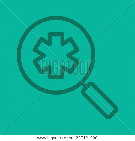 Ambulance search linear icon. Medical assistance. Magnifying glass with star of life. Thick line outline symbols on color background. Vector illustration