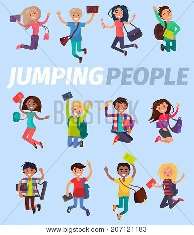 Jumping people twelve happy students flat design on blue background. Smiling pupils with school bag or backpack, tube for drawings, books or tutorials. Vector illustration of bouncing studying folk.