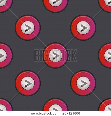 UI interface button play media internet isolated website online concept seamless pattern player approved mark click icon vector illustration. Accept success vote checkmark.
