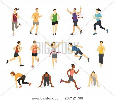 Different running athletes sport people runner group with kit elements silhouette character design let run concept vector illustration. Health jogger competition fitness exercise.