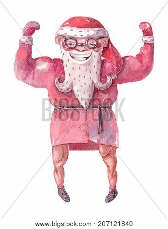Large raster illustration with hand drawn lovely bodybuilder Santa Claus drawn with brush and watercolor with broad shoulders and large muscles.