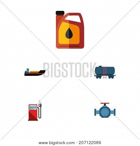 Flat Icon Oil Set Of Container, Petrol, Flange And Other Vector Objects