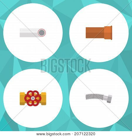 Flat Icon Sanitary Set Of Drain, Corrugated Pipe, Cast And Other Vector Objects