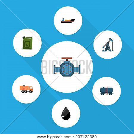 Flat Icon Fuel Set Of Rig, Fuel Canister, Container And Other Vector Objects