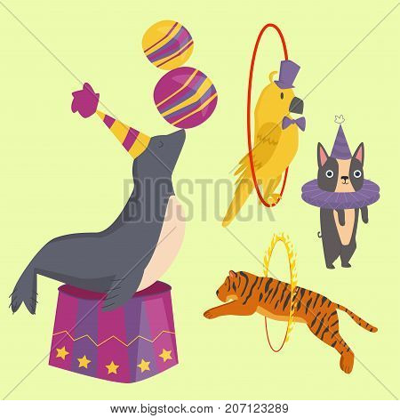 Circus funny animals set of vector icons. Cheerful zoo entertainment collection. Juggler magician performer carnival illustration. Vintage acrobat character.