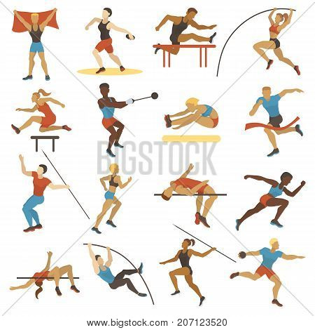 Vector illustration athlete doing different track field sports long jump running hurdles javelin thro, shot put and high jump. High jump athlete sport people athletics silhouette.