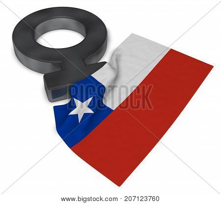 venus symbol and flag of chile - 3d rendering