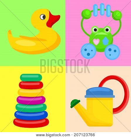 Plastic toys for children isolated on colorful backgrounds. Vector poster of yellow duck, green rattle frog, watering pot and pyramid