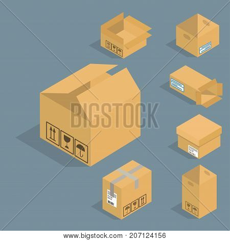 Different box vector isometric icons isolated move service or gift container packaging. Shop bag carton package paper take out pack and food jar relocation unfurnished illustration.