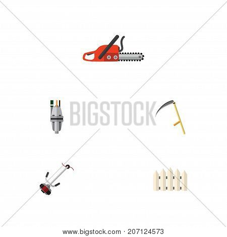Flat Icon Dacha Set Of Cutter, Pump, Hacksaw And Other Vector Objects