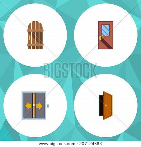 Flat Icon Door Set Of Lobby, Entry, Door And Other Vector Objects