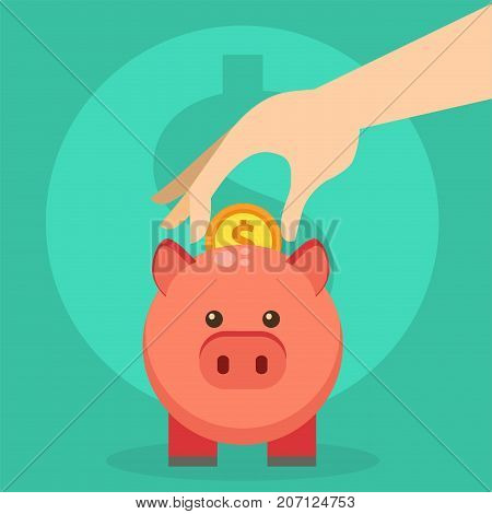 Vector save money piggy bank flat design banking economy save coin finance business investment pig box illustration. Savings dollar symbol investment cash financial moneybox piggybank concept.