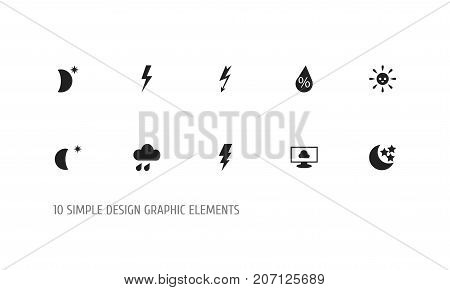 Set Of 10 Editable Climate Icons. Includes Symbols Such As Cloud On The Screen, Moonlight, Precipitation And More